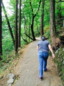 Slogging my way to the top of Multnomah Falls.