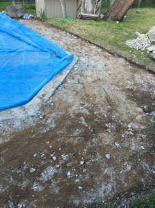 ALL it's old exposed aggregate pool deck stripped away.